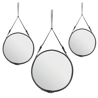 Jacques Adnet Amrah Black Leather Strap Round Wall Mirror