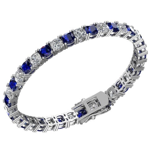 Sterling Silver 4.57 CTTW 5mm Created Blue Sapphire and White Topaz Tennis Bracelet