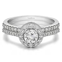 Bridal Set (Two Rings) in 14k Gold set with Diamonds (G,SI1) (1.08tw ) - Clear