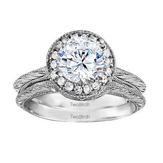 TwoBirch Bridal Set (Two Rings) in 10k Gold and Diamonds (G,I2) ( .89tw) - Clear