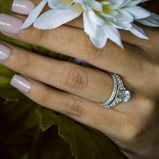 TwoBirch Bridal Set (Two Rings) in 14k Gold and Diamonds (G,I2) (2.02 tw) - Clear