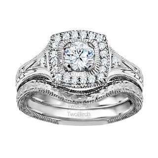 TwoBirch Bridal Set Two Rings In 10k Gold And Diamonds G I2 0 74tw Clear