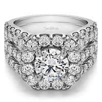 TwoBirch Bridal Set (Two Rings) in 10k Gold and Diamonds & CZ Center Stone (G,I2) (4.49 tw) - Clear