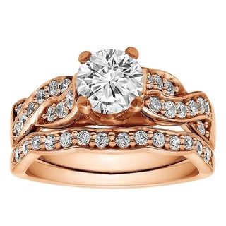 TwoBirch Bridal Set Two Rings In 14k Gold And Diamonds G SI1 1 56 Tw Clear