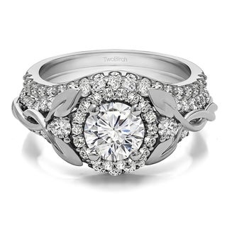TwoBirch Bridal Set (Two Rings) in 14k Gold and Diamonds (G,SI1) & CZ Center Stone (2.1 tw) - Clear