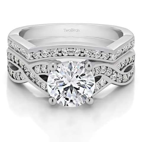 TwoBirch Bridal Set (Two Rings) in 10k Gold and Diamonds (G,I2) (2.14 tw) - Clear