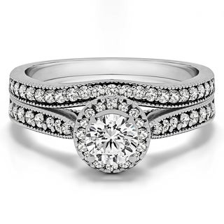 TwoBirch Bridal Set (Two Rings) in 10k Gold and Diamonds (G,I2) (0.69tw) - Clear