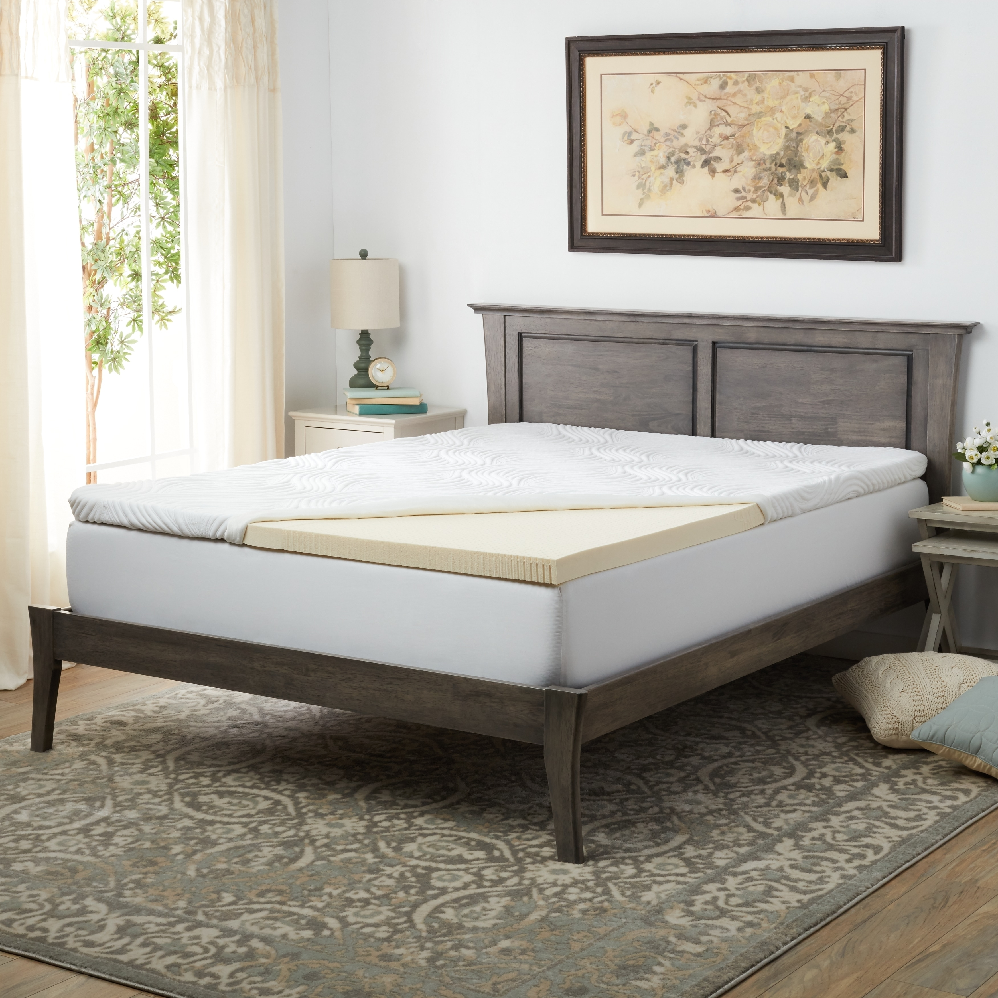 Pure Talalay Bliss 2-inch Firm Latex Mattress Topper Twin...