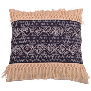 20x20 Harriet Embroidered Natural Fringe Pillow