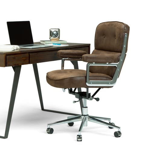 WYNDENHALL Ross Swivel Adjustable Executive Computer Office Chair in Chocolate Brown