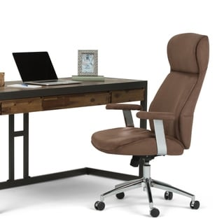 WYNDENHALL Candace Swivel Adjustable Executive Computer Office Chair in Chocolate Brown