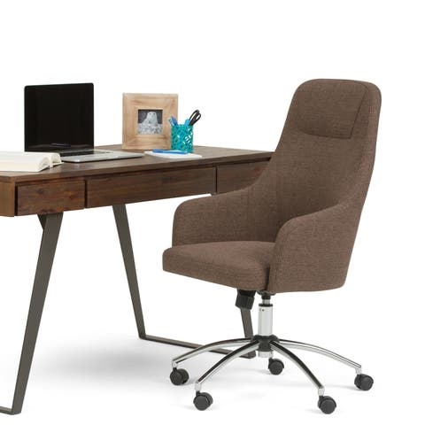 WYNDENHALL Zane Swivel Adjustable Executive Computer Office Chair in Chocolate Brown