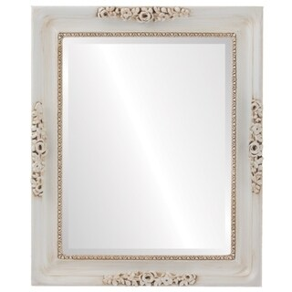 Versailles Framed Rectangle Mirror in Antique White - Antique White