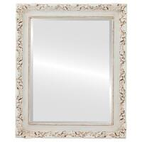 Rome Antique White Finish Wood Framed Wall Mirror