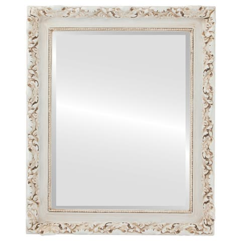 Rome Framed Rectangle Mirror in Antique White