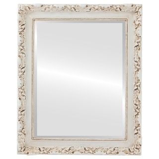 Rome Framed Rectangle Mirror in Antique White - Antique White