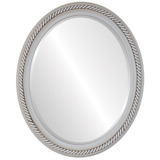 Santa Fe Framed Oval Mirror in Antique White - Antique White (More options available)