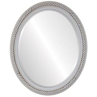 Santa Fe Framed Oval Mirror in Antique White - Antique White
