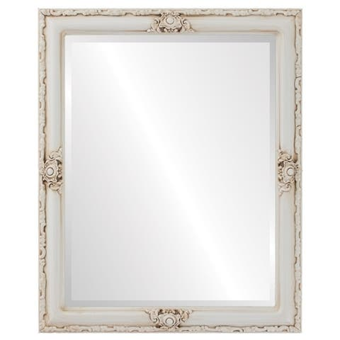 Jefferson Framed Rectangle Mirror in Antique White