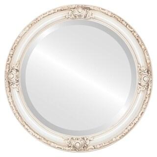 Jefferson Framed Round Mirror in Antique White - Antique White