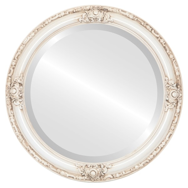 Jefferson Framed Round Mirror in Antique White - Antique White