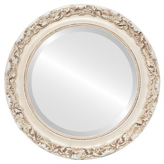 Rome Framed Antique White Glass Round Mirror