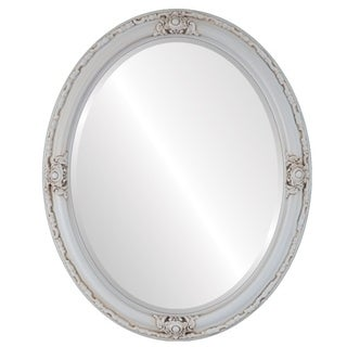 Jefferson Framed Oval Mirror in Antique White - Antique White