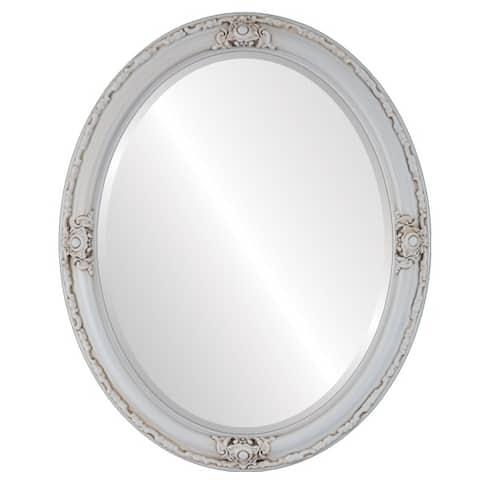 Jefferson Framed Oval Mirror in Antique White - Antique White
