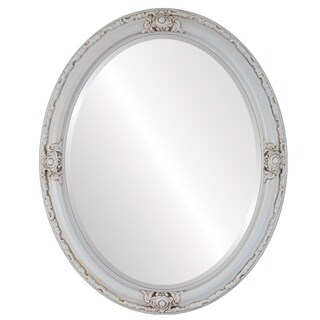Jefferson Framed Oval Mirror in Antique White - Antique White (More options available)