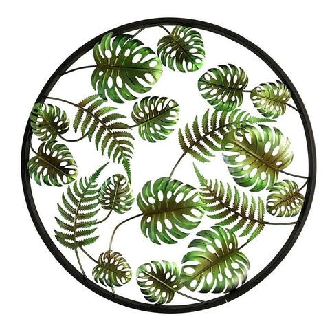"Tropical Palm Leaves 24"" Metal 3D Wall Art"