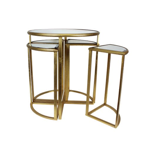 Urban Designs Round Gold Mirror Nesting Accent Table - Set of 5
