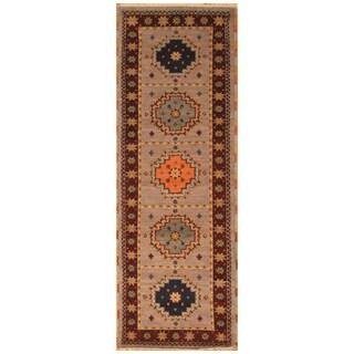 Handmade Herat Oriental Indo Hand-Knotted Tribal Kazak Wool Runner - exact size