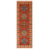 Handmade Herat Oriental Indo Hand-Knotted Tribal Kazak Wool Runner (2'2 x 6'5)