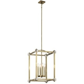 Kichler Lighting Cayden Collection 4-light Natural Brass Foyer Pendant - natural brass