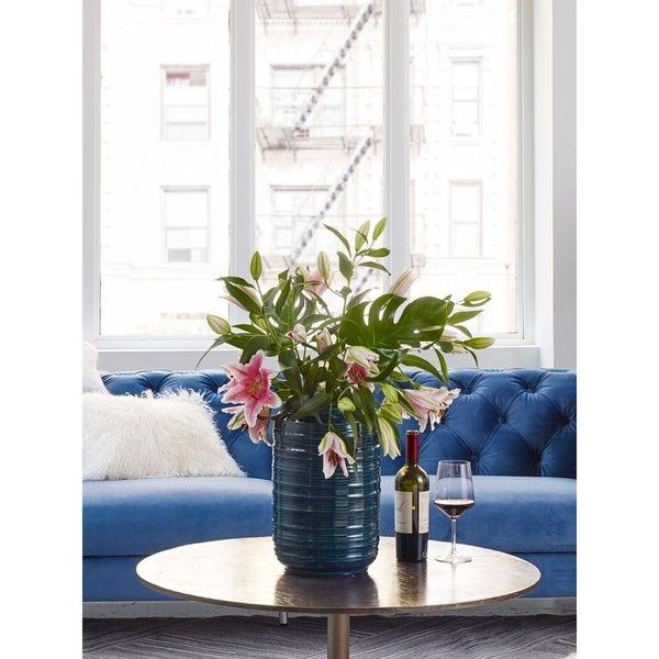 Aurelle Home Modern Green Glazed Ceramic Vase - Tall