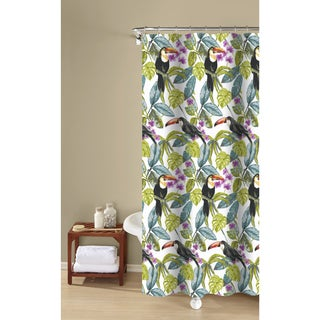 Tropical Toucans Textured Fabric Print, Green, 100-percent Cotton Shower Curtain Inspired Surroundings by 1888 Mills