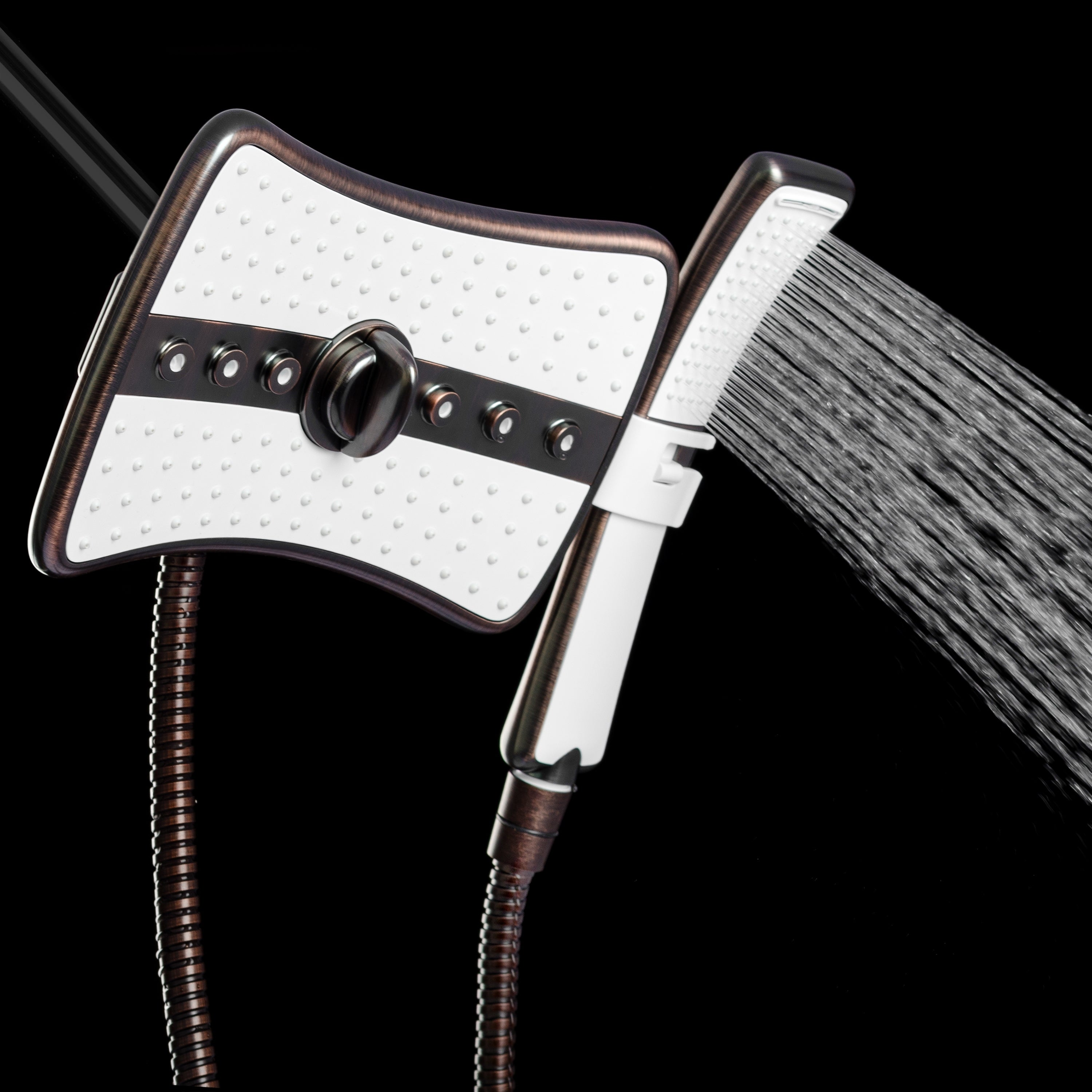 """9/"""" Rectangular Shower Head with 4 Multi-Function Modes and Wand Combo Silver"""