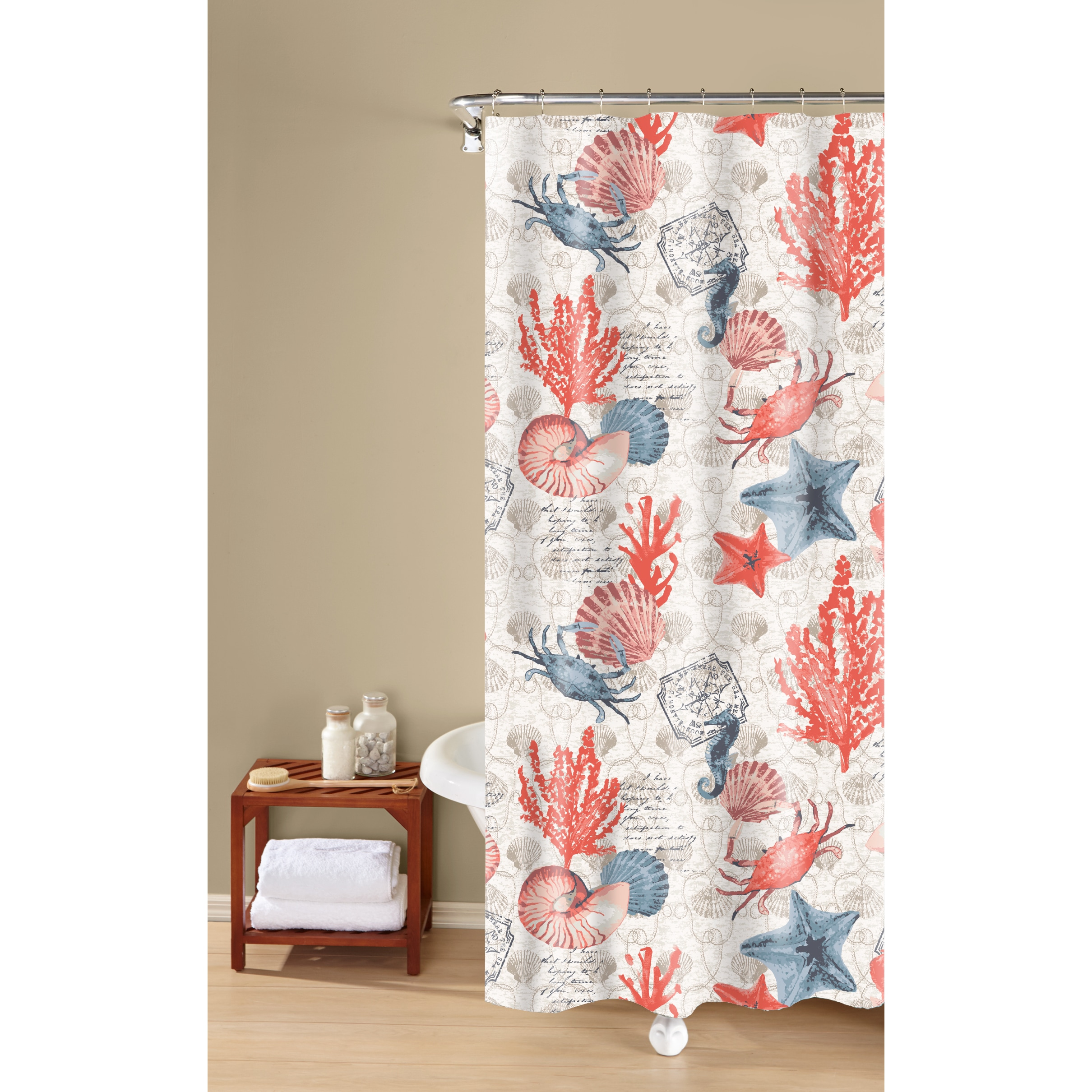 Coastal Dreams Textured Fabric Print Orange 100 Percent Cotton Shower Curtain Inspired Surroundings By 1888 Mills