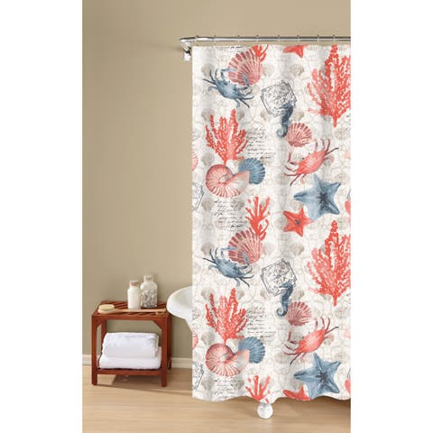 Coastal Dreams Textured Fabric Print, Orange, 100-percent Cotton Shower Curtain Inspired Surroundings by 1888 Mills