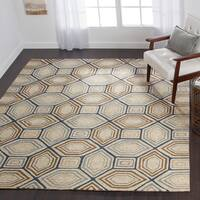 Indoor/ Outdoor Hand-hooked Taupe/ Blue Geometric Rug - 5' x 7'6