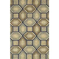 Indoor/ Outdoor Hand-hooked Taupe/ Blue Geometric Rug - 3'6 x 5'6