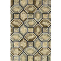 """Indoor/ Outdoor Hand-hooked Taupe/ Blue Geometric Rug - 2'3"""" x 3'9"""""""