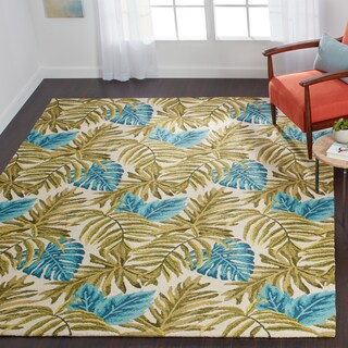 Indoor/ Outdoor Hand-hooked Green/ Blue Tropical Palm Leaf Rug - 7'6 x 9'6