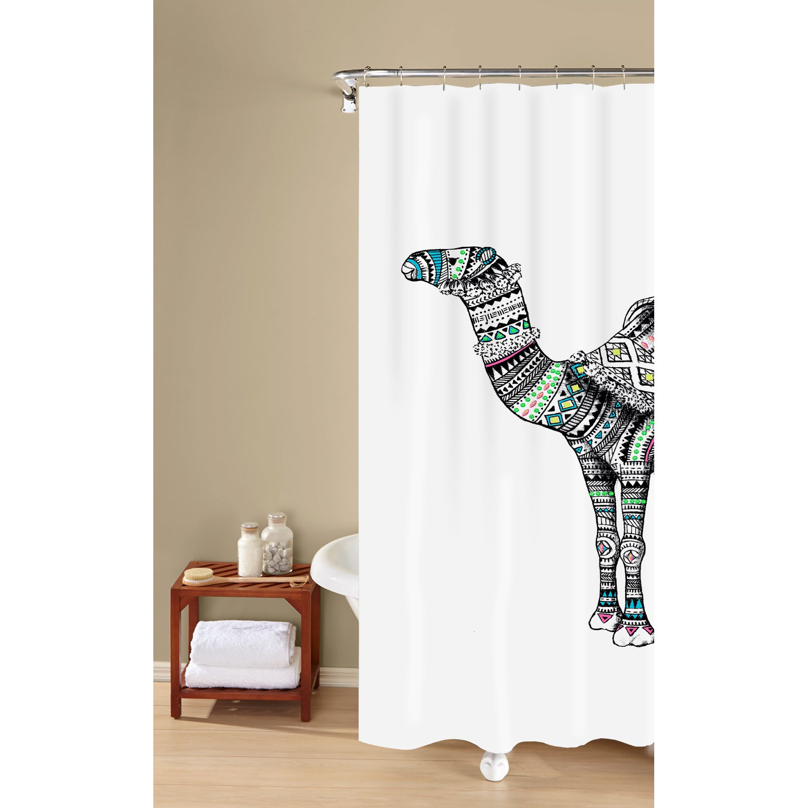 Metallic Camel Print Textured Fabric Print Black White 100 Percent Cotton Shower Curtain Inspired Surroundings By 1888 Mills