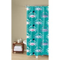 Savvy Crabs Textured Fabric Printed Teal, Easy Care, Shower Curtain Inspired Surroundings by 1888 Mills
