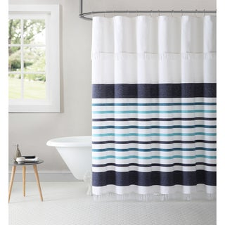 Inspired Surroundings By 1888 Mills Parker Stripe Yarn Dyed 100 Cotton Shower Curtain