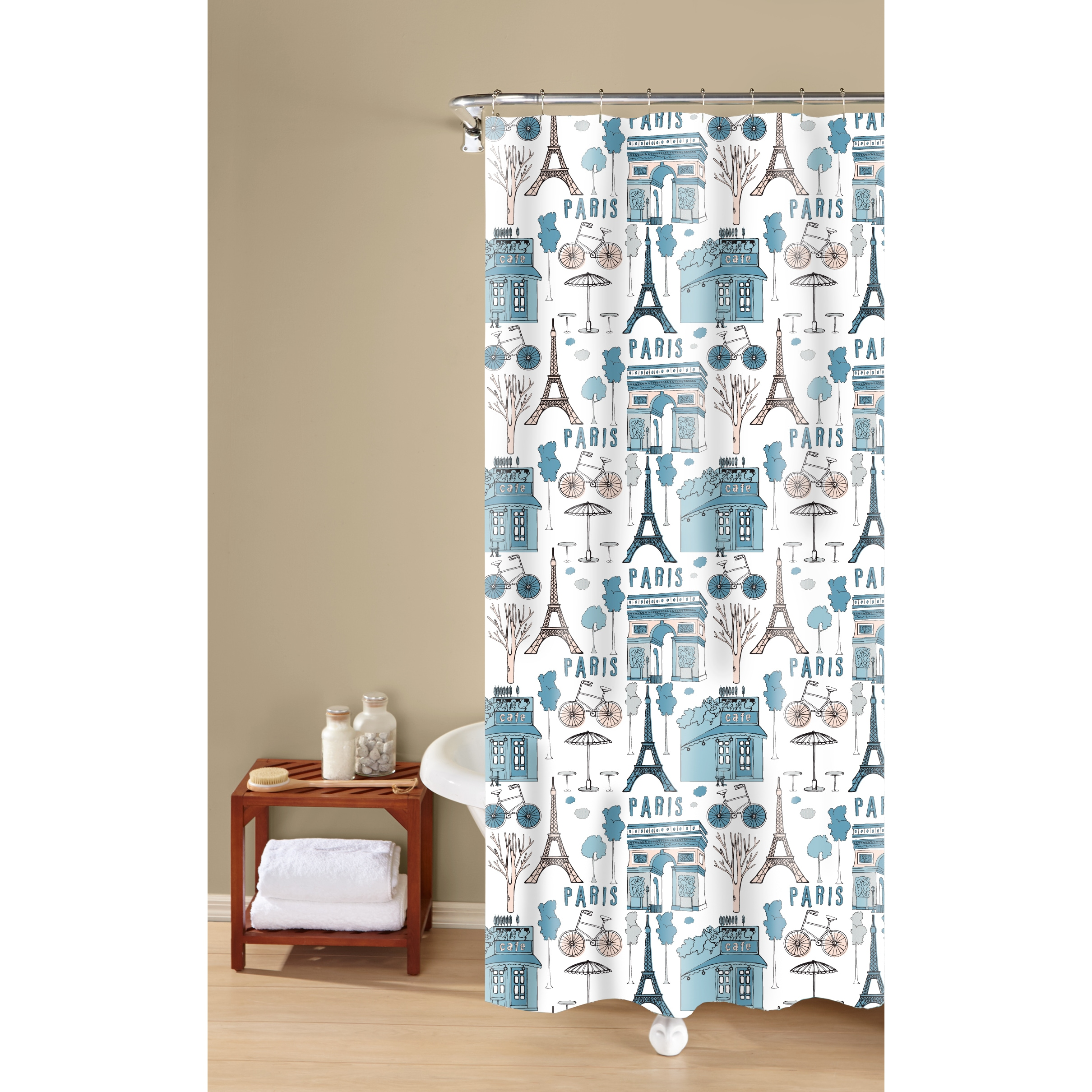 Inspired Surroundings By 1888 Mills Paris Print Easy Care Shower Curtain