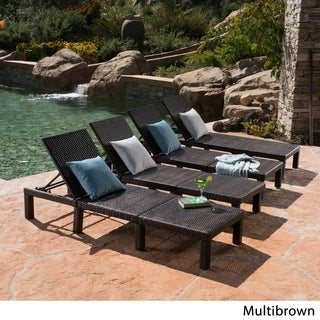 Jamaica Outdoor Wicker Chaise Lounge (Set of 4) by Christopher Knight Home