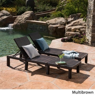 Jamaica Outdoor Wicker Chaise Lounge (Set of 2) by Christopher Knight Home