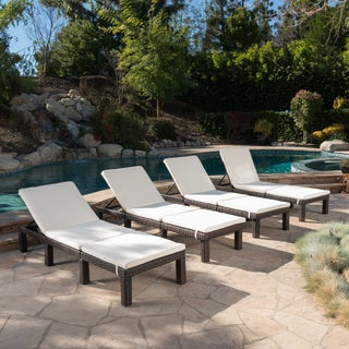 Jamaica Outdoor Wicker Chaise Lounge with Cushion (Set of 4) by Christopher Knight Home